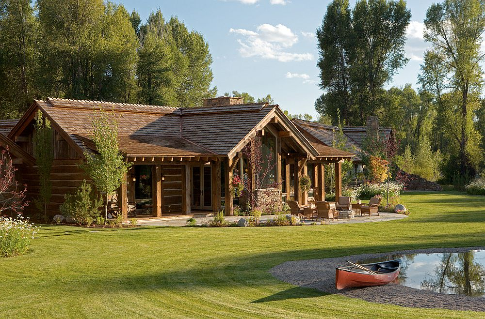 Fabulous green landscape water features and natural pools around the magical Wyoming retreat Enchanting Escape: Rustic Wyoming Lifestyle Comes Alive in All Its Splendor!