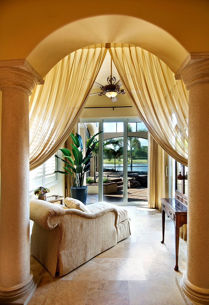 Fabulous sunroom of luxurious Mediterranean Villa in Miami [Design: Sater Design Collection]