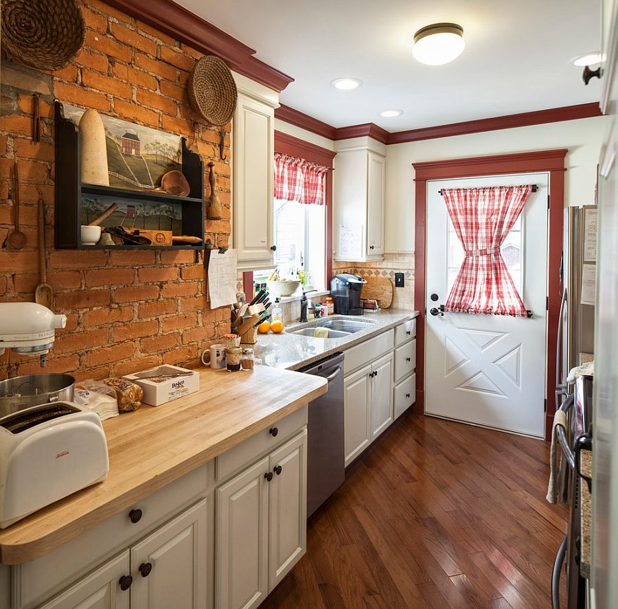 ... Farmhouse kitchen with antique shelf and brick wall backdrop [Design:  Handy Home Guys]