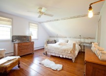 Farmhouse style bedroom has a cozy, relaxing vibe