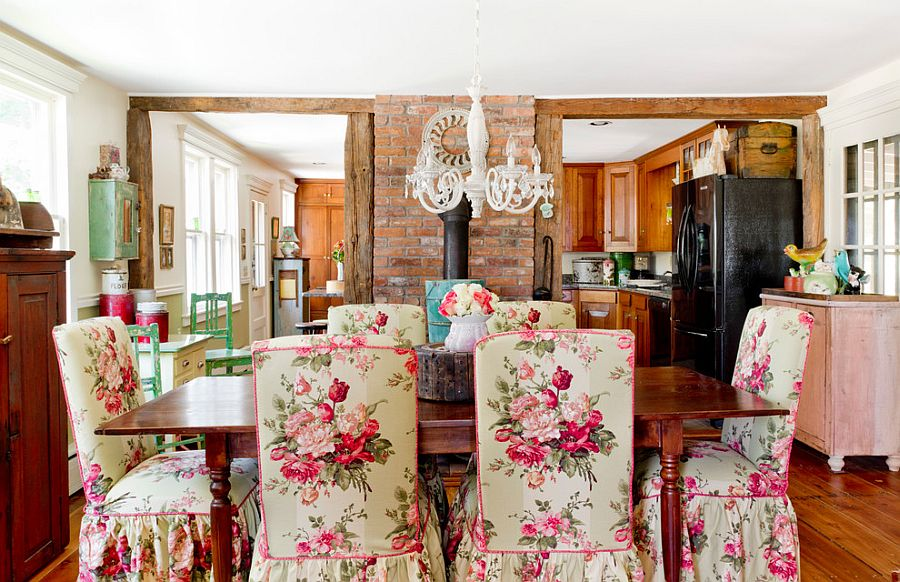 Farmhouse style dining room with brick wall feature [From: Rikki Snyder]