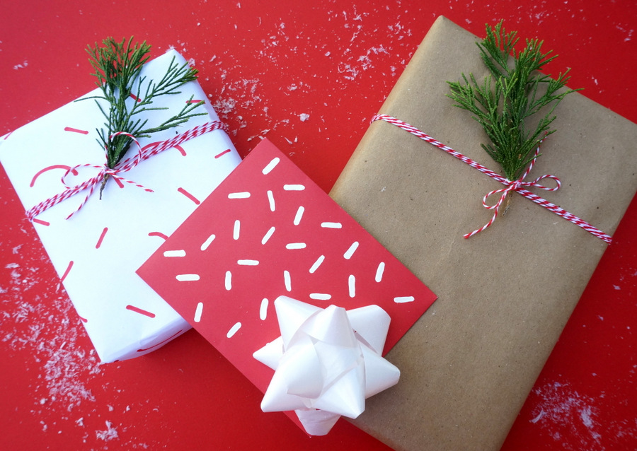 Festive gift wrap with baker's twine and greenery