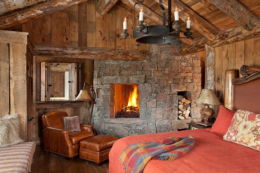 Fireplace in the bedroom seems like a must for the rustic, cabin bedroom
