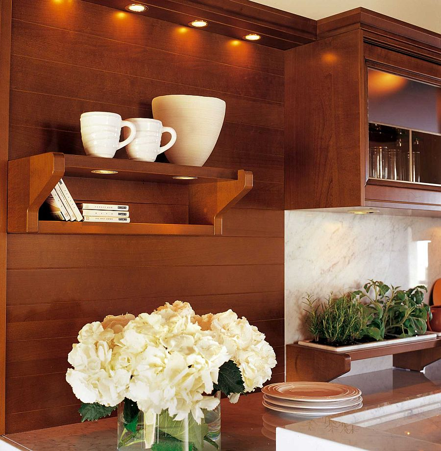 Floating shelves and glass door cabinets allow you to style your kitchen with ease