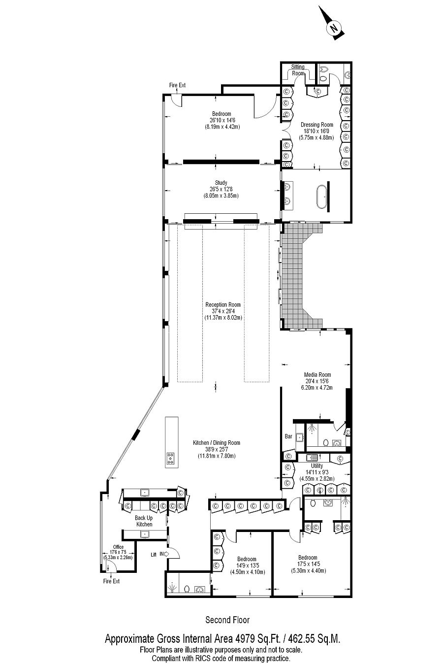 Floor plan of the luxurious London penthouse