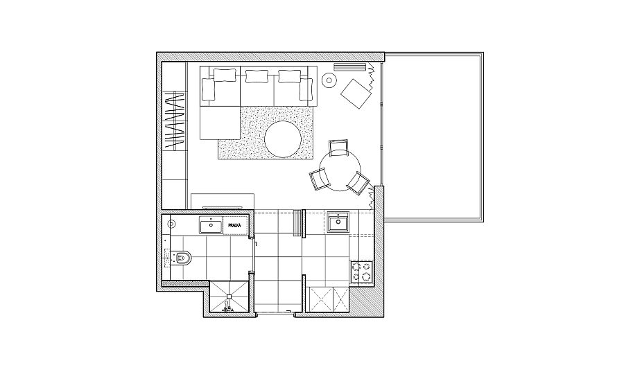 Floor plan of the small urban apartment in Gdansk