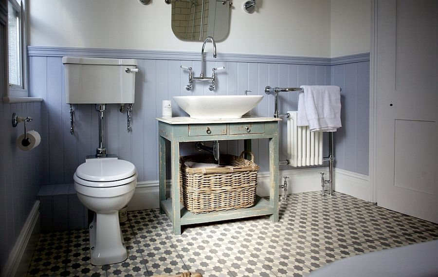 Floor tiles add pattern to the small bathroom in neutral hues [Design: The Brighton Bathroom Company]