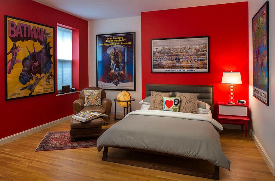 Framed posters steal the show despite the bold presence of red [Design: Tahar Décor]