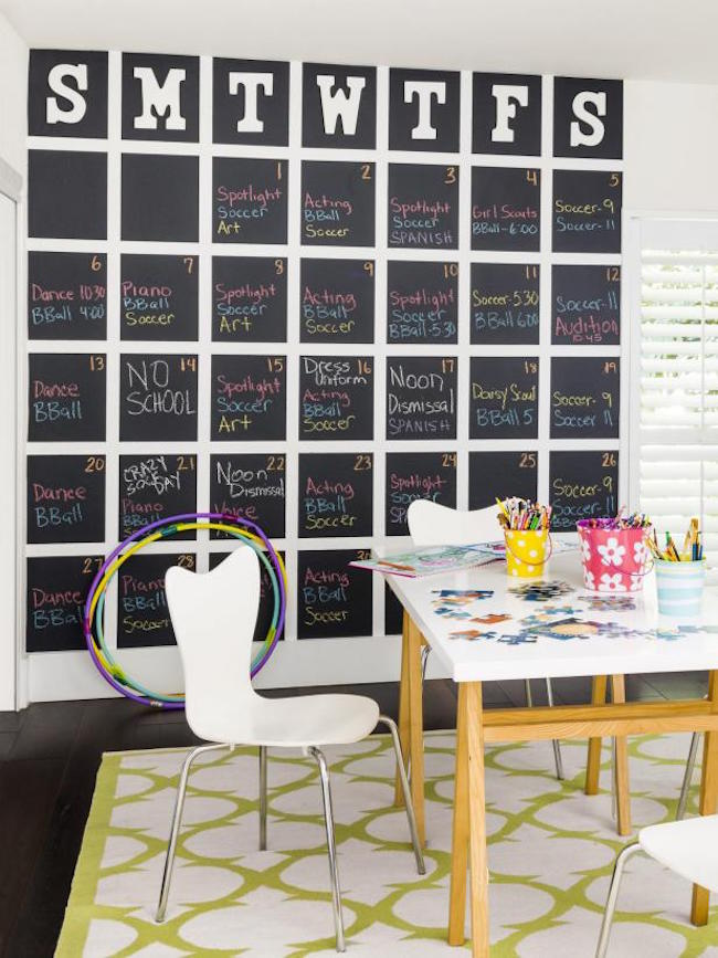 Full wall-sized chalkboard calendar