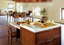 Functional kitchen island top offers ample space for preparing food