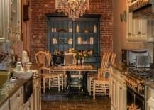 Gallery kitchen and cozy dining with brick wall at the end [Design: CCS Woodworks]
