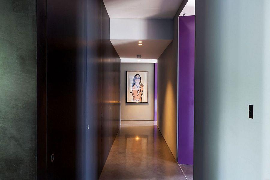 Gallery-styled hallway with dark ambiance