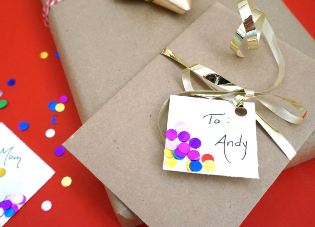 Styling and Personalizing: DIY Confetti Gift Tags