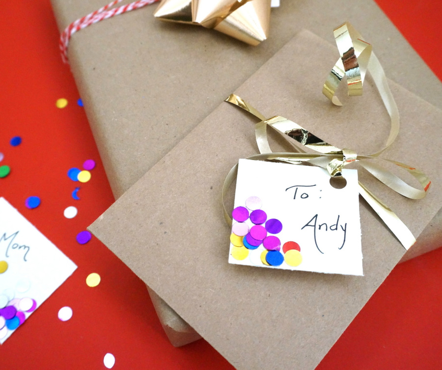 Gift tag project idea Styling and Personalizing: DIY Confetti Gift Tags