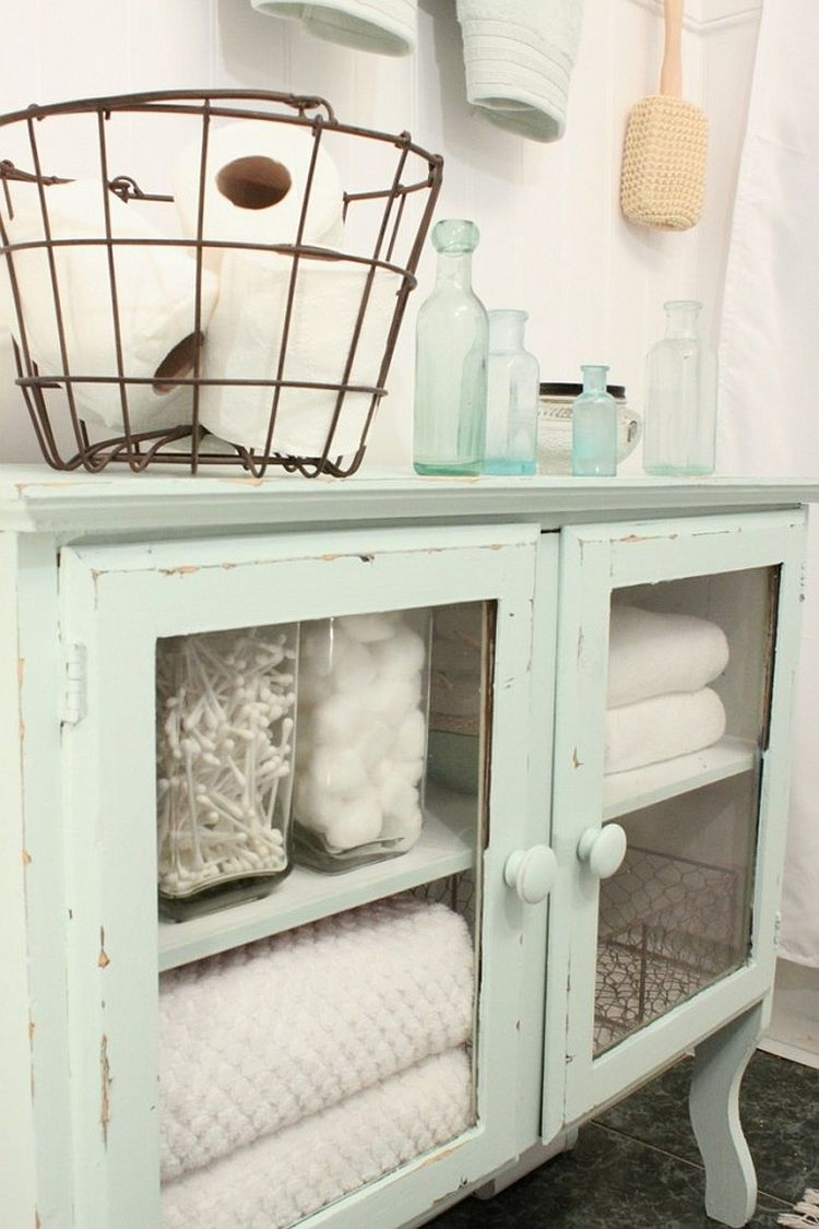 Give the old cabinet a new lease of life as you search for storage space in the shabby chic bathroom [From: Jennifer Murdison / Houzz]