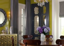 Glamorous dining room with greenish-yellow and shades of gray