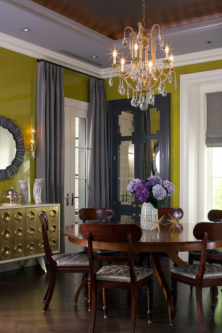 Glamorous dining room with greenish-yellow and shades of gray [From: James Yochum Photography]