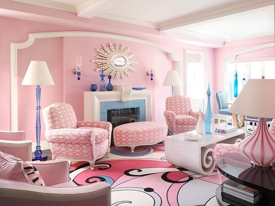 20 classy and cheerful pink living rooms for Sitting room ideas 2016