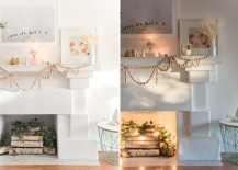 Glowing fireplace with a beaded garland from Design Love Fest 217x155 Cozy Winter Style: Keeping That Warm Glow Beyond the Holidays