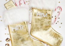 Gold leather and faux fur stocking DIY from A Beautiful Mess