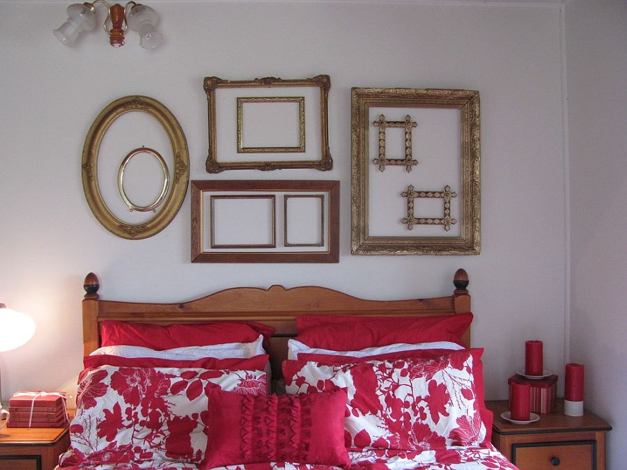 Gorgeous collage of empty frames in the eclectic bedroom [From: Five Brothers One Sister]