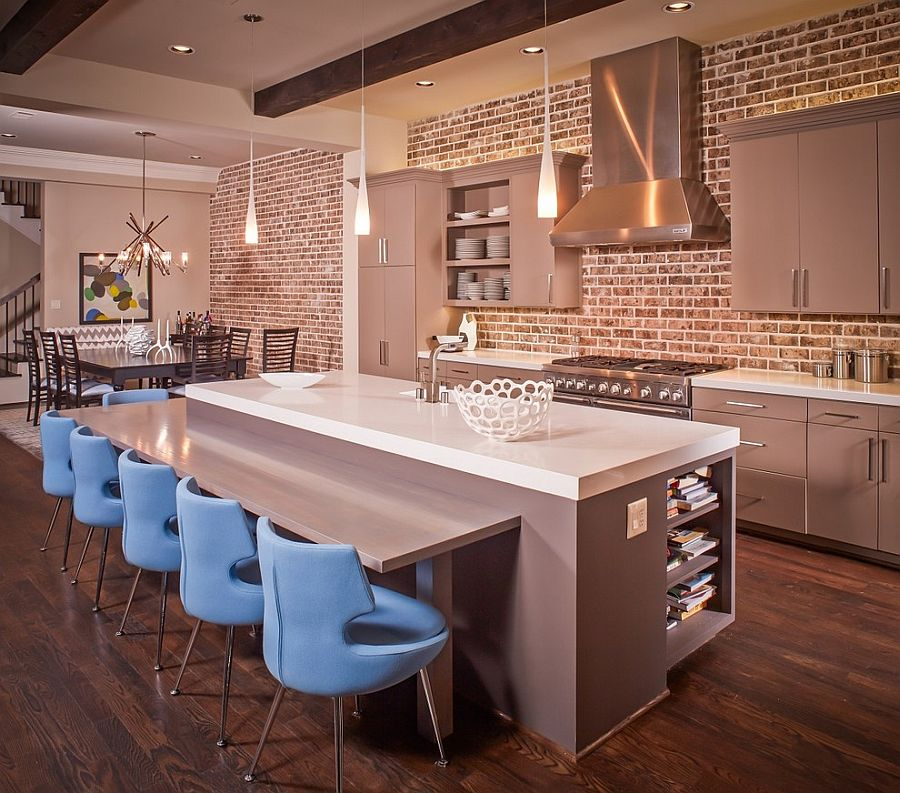 50 trendy and timeless kitchens with beautiful brick walls for Grey kitchen wall units