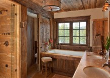 Gorgeous rustic bathroom draped in wood