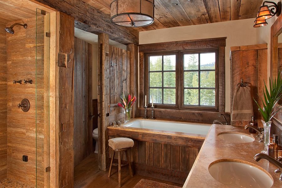 Gorgeous rustic bathroom draped in wood