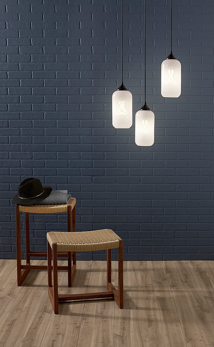 Gray backdrop lets the pendant lights stand out visually