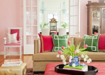 Green-pink-and-a-hint-of-gold-in-the-shabby-chic-living-space-217x155