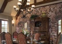 Herringbone pattern brick wall in the rustic dining room [From: Design Associates]