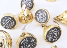 Hershey kisses with midnight kisses stickers on them for New Years Eve 217x155 7 New Years Eve Party Favor Ideas