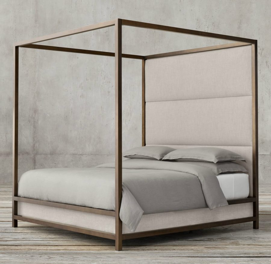 view in gallery high panel four poster bed from restoration hardware