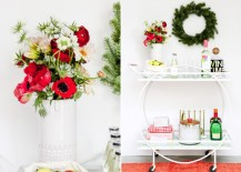 Holiday bar cart styling from Paper & Stitch