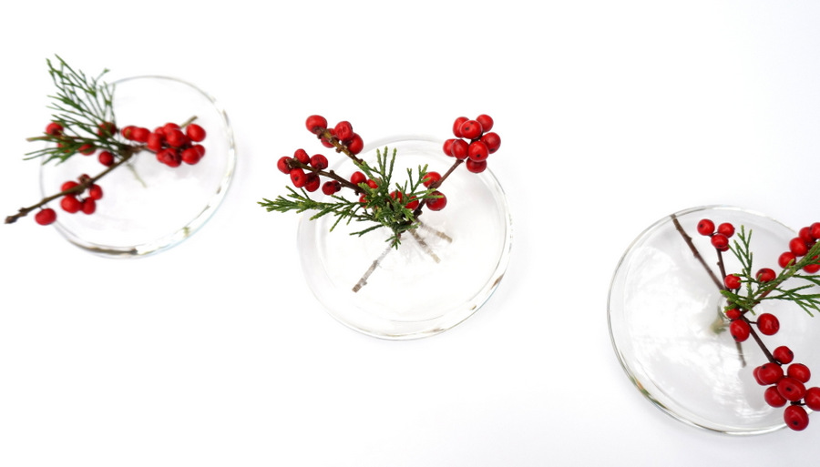 Holiday centerpiece featuring vases from CB2