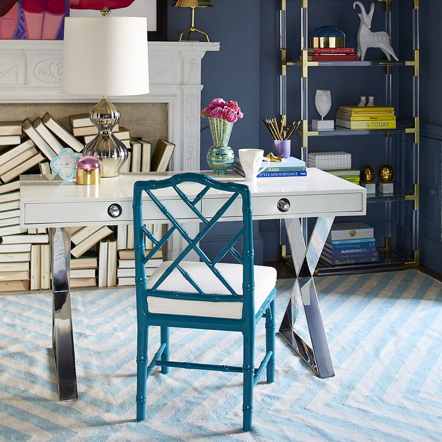 Home office desk from Jonathan Adler with Hollywood Regency style