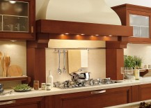 Hood of the kitchen is inspired by fireplace chimneys from an era gone by