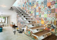 Imaginative use of tiles to add color to the staircase wall