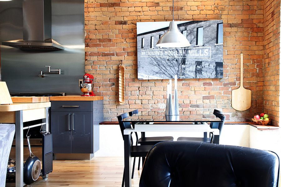 Ingenious little dining space of industrial home transformed from old mill [Design: Esther Hershcovich]