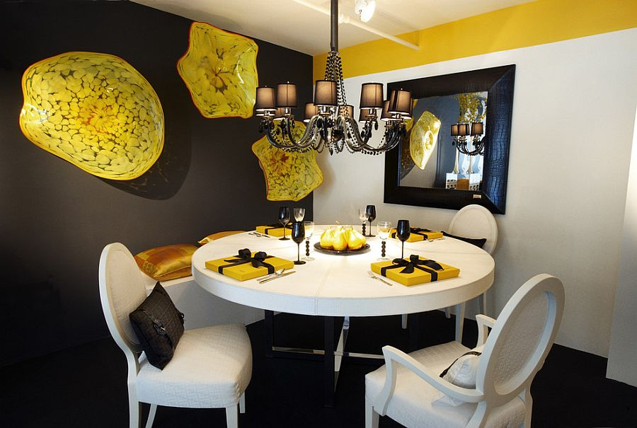 Ingenious wall art adds bright splashes of yellow to the gray dining room [Design: Tracy Murdock]