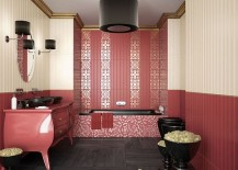 Interesting use of matte shade of pink inside the spacious bathroom