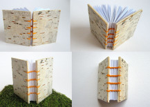 Journal with a birch bark cover from Etsy shop ExiArts EcoCrafts