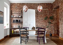 Ladder shelf and snazzy pendants for the contemporary dining room with brick walls