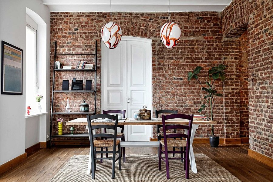 Ladder shelf and snazzy pendants for the contemporary dining room with brick walls [From: Kadir Asnaz Photography]