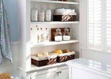 Large built-in shelving and cabinets for lots of extra bathroom storage