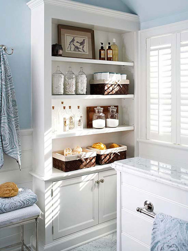 ... Large built-in shelving and cabinets for lots of extra bathroom storage