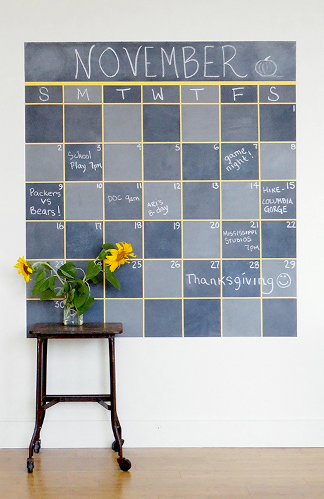 Large calendar made with chalkboard paint