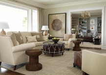 Large drum coffee table that stands out in a living room