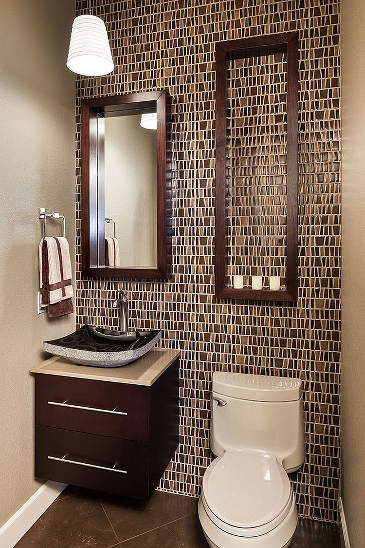large empty frame offers tiny shelf space for candles in the powder room design - Picture Frame Design Ideas