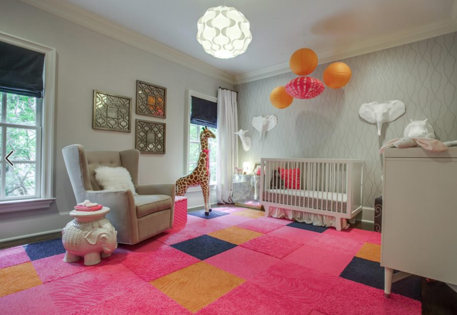 View In Gallery Large Vibrant Flor Rug In A Modern Eclectic Nursery